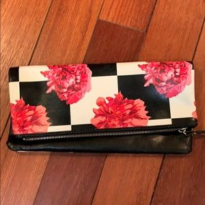 Checker flora fold over clutch - genuine leather